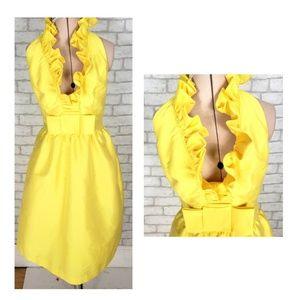 Alfred Sung Yellow Ruffle Neck Cocktail Dress SZ 4